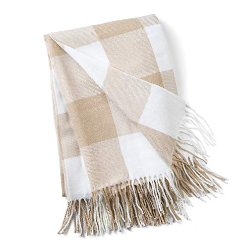Good Manors Buffalo Plaid Throw Blanket With Fringe Farmhouse Check Pattern Ultra Lightweight 15 Oz Woven Soft Breathable Stylish 50 X 60 In Tan