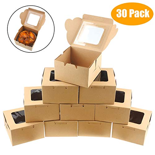 Mini Cake Boxes (Jyongmer 30 Pack Brown Bakery Pie Boxes 4 inch Kraft Paper Individual Cupcake Boxes with Clear Display Window Natural Disposable Box, Dessert, Cookies, Pastry, Donut, Candy, Party Favors, Wedding)
