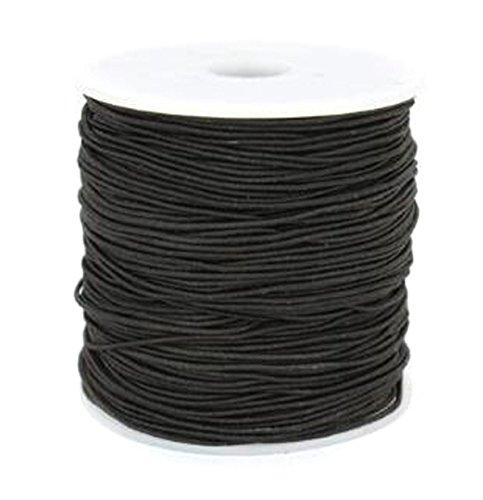 Knitting Thread Elastic (0.8mm Prayer Beads Elastic Thread - 109 Yard - Core-spun Elastic Cord for DIY Hand Knitting Beads String Rope Buddha Beads (Black))