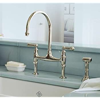 High Quality Rohl U.4719L IB 2 Perrin And Rowe Bridge Kitchen Faucet With Side