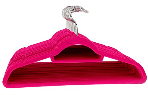 Juvale Velvet Hanger Pink - 50-Count Hot Pink Velvet Hangers for Shirts and Dresses with Bonus Accessory Bar - 18 Inch Hangers