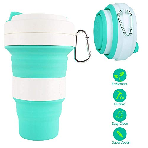 Silicone Collapsible Travel Cup Folding Cup/Mug Sport Bottle with Lids - Foldable & Portable & Lightweight Coffee Cup for Camping Hiking Outdoor & Office - BPA Free (Green, 550ml)