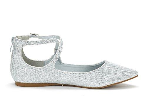 DREAM PAIR Frauen Sole-Riemchen Ankle Straps Flats Schuhe Silberner Glitter
