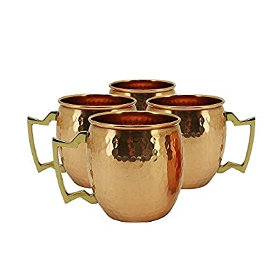 AVS STORE ® Hammered Copper Moscow Mule Mug Handmade of 100% Pure Copper, Nickel Lined, Brass Handle Hammered Moscow Mule Mug / Cup 16 Ounce,set Of-4,
