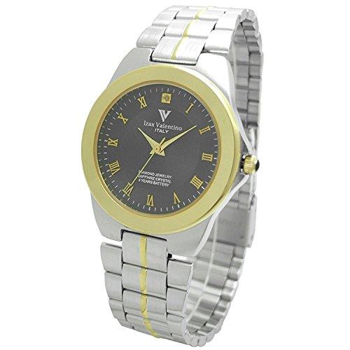 Izax Valentino watch round type 1P natural diamond metal watch Roman numeral index black IVG-650-8 Men's