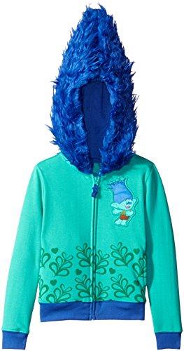 Trolls Little Girls' Branch Costume Hoodie, Aqua/Blue, S-4 ()