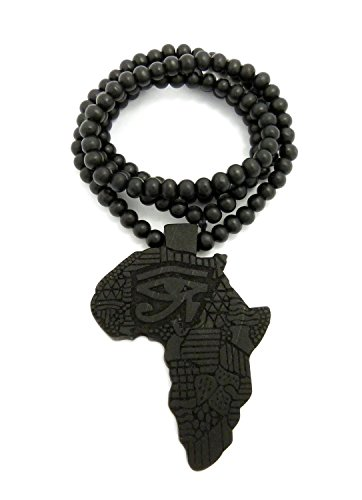 MENS AFRICA MAP WOOD HORUS EYE AFRICAN CONTINENT EGYPTIAN SYMBOL WOODEN BEAD CHAIN NECKLACE (Black)