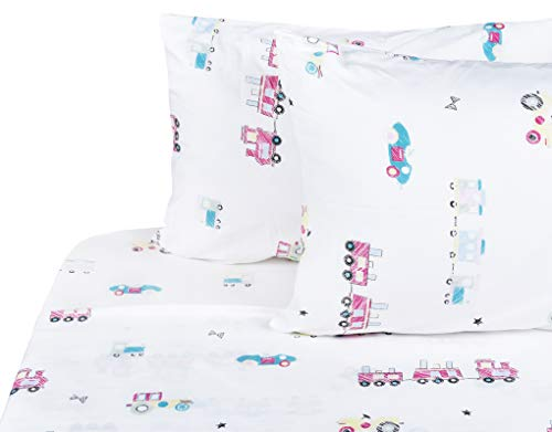 Scientific Sleep Cute Cars Trains Soft Sheets Set Full, 100% Microfiber Polyester Bedding Sheet Set for Boys Gift (8, Full)