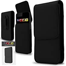 IWIO Apple iPhone 6 Plus & iPhone 6s Plus BLACK PU Leather Protective Pouch Belt Magnetic Holster Flip Case Skin Cover