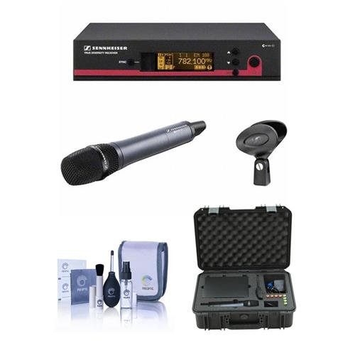 Sennheiser ew 135 G3 Wireless Handheld Microphone System with EM 100 G3 Receiver (Frequency G, Range: 566-608MHz) - Bundle With SKB Injection Molded Waterproof Case, Cleaning Kit by Sennheiser