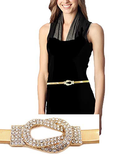 Rhinestone Knot Buckle Piece Stretch Waist Chain Belt Gold, Black Tone ()