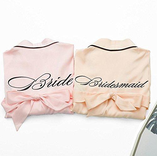 Le Spose Dimensioni Abiti spogliatorio Champagne Rosa Con Da L Accappatoio Cinghia Notte E Wanyne Cardigan Camicia Ricamati Vestito Damigelle Vestaglia colore AIUqtx