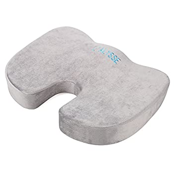 L'ALYSSE Coccyx and Sciatica Orthopedic Comfort Memory Foam Seat Cushion for Office Chair, Truck Drivers,planes and Cars (grey)