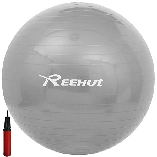 Reehut Anti-Burst Core Exercise Ball for Yoga, Balance, Workout, Fitness w/ Pump (Grey, 45cm)