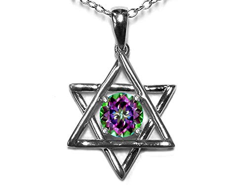 - Star K Jewish Star of David Pendant Necklace with Round Rainbow Mystic Topaz 14 kt White Gold