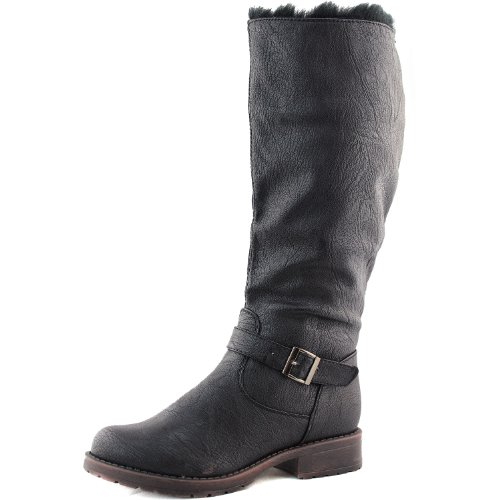 Women's Breckelle'S Reno-86 Black Color Snow Rain Knee High Boots Shoes, Black, 7.5