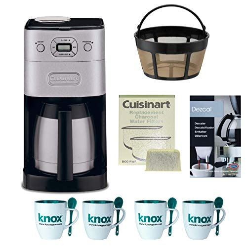 Coffee Automatic Grinder Deluxe - Cuisinart DGB-650BC Grind-and-Brew Thermal 10-Cup Automatic Coffeemaker, Brushed Metal + Replacement Water Filters 2 Pack + Home Activated Coffee/ Espresso Descaler + Knox 16oz. Mug With Spoon (4 Pack)