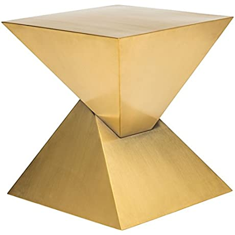 Nuevo Giza Side Table In Brushed Gold Stainless Steel