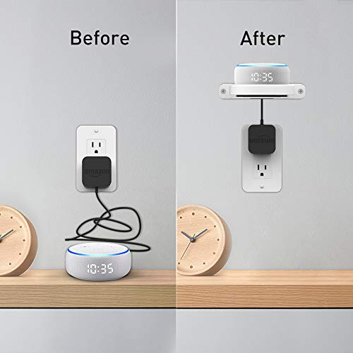 Delidigi Echo Dot Wall Mount ABS Bracket Holder Shelf Accessories [Built-in Cable Management] for Echo Dot 4th Gen, 3rd Gen and Google Nest WiFi Router (White)
