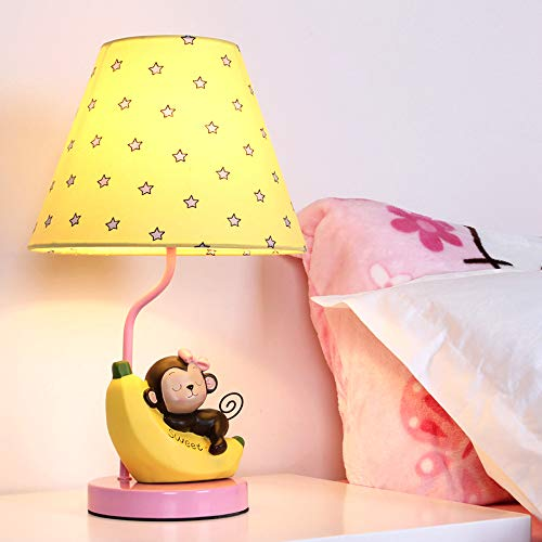 NIUYAO Cute Table Lamp Desk Lighting Star Fabric Shade Monkey Kid's Lighting Led Beside Lamp Night Light Thematic Kids Boys Girls BedroomTable Lights (Yellow) 474467 (Monkey Lamp Bedside)