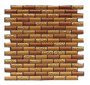 Vogue Premium Quality Copper & Gold Glass Mixed Brick Pattern Mosaic Tile for Backsplash and Bathroom Wall Designed in Italy (12x12)