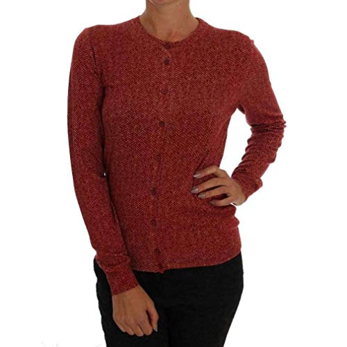 Dolce & Gabbana Red Wool Top Cardigan Sweater