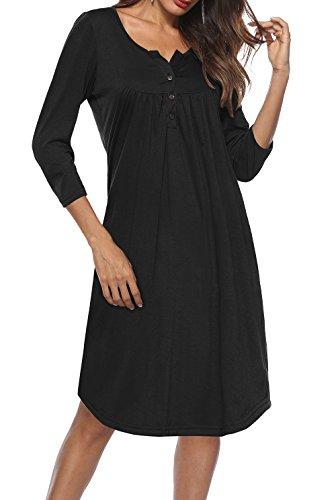 (Women's Button Front Midi Three Quarter Sleeves Crewneck Dress, Black, XL)
