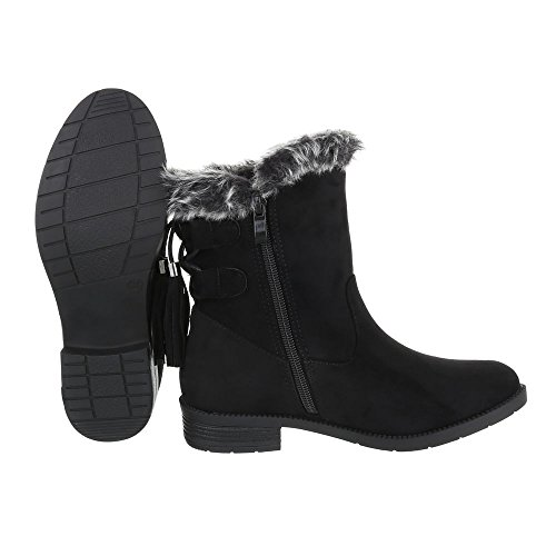 Ital-Design Komfort Stiefeletten Damenschuhe Schlupfstiefel Blockabsatz Blockabsatz Reißverschluss Stiefeletten Schwarz