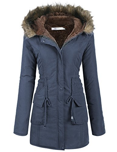 Meaneor Women's Hooded Warm Winter Faux Fur Lined Parkas Long Coats, Navy Blue, L