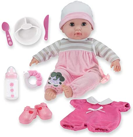 15″ Realistic Soft Body Baby Doll with Open/Close Eyes | JC Toys – Berenguer Boutique | 10 Piece Gift Set with Bottle, Rattle, Pacifier & Accessories | Pink | Ages 2+
