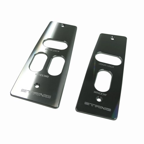 - UPR Mustang Hardtop Billet Window Switch Plates Stang Logo Satin