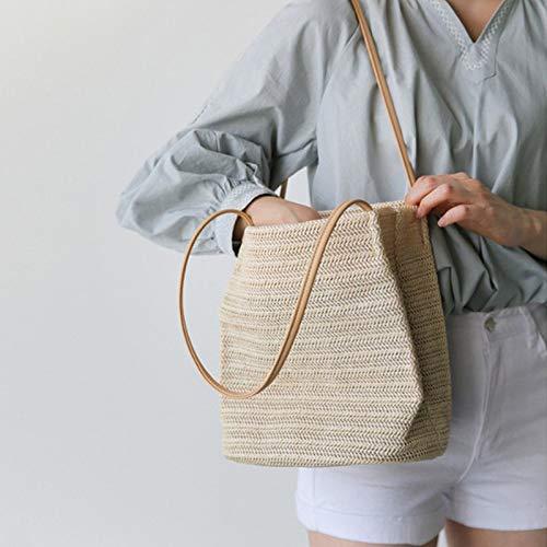 - Durable Weave Straw BeacHandbag for Women Linen Woven Bucket Bag Casual Big Handbag Totes Knitting Rattan Shoulder Bag Dark Beige 23x24x17cm