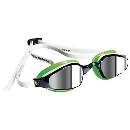 MP Michael Phelps K180 goggles, White Green With Mirrored Lens