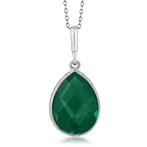 (Gem Stone King 6.50 Ct Green Onyx 16X12MM Pear Shape 925 Sterling Silver Pendant With 18 Inch)