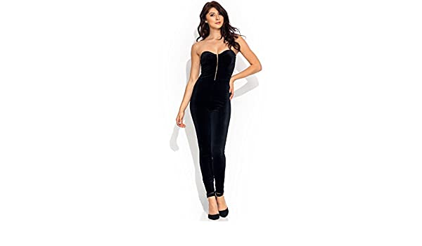 009b7c08a36 Amazon.com  Velvet Bustier Jumpsuit  Clothing
