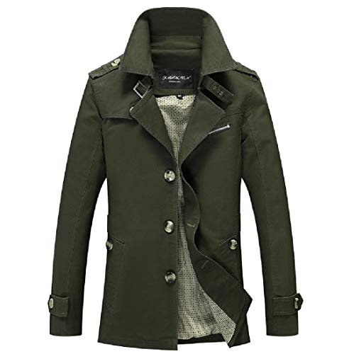 Sankt Wrap Trench Army Oversized Casual Autumn Mid Green Single Men Breasted Coat Long ppfqxrv