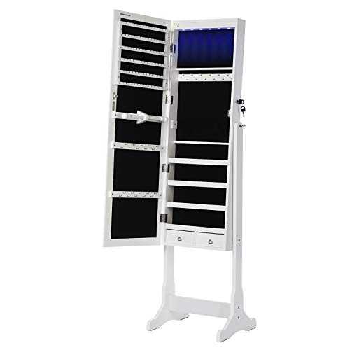 SONGMICS 6 LEDs Jewelry Cabinet Lockable Standing Mirrored Jewelry Armoire Organizer 2 Drawers White UJJC94W (White Mirrored Furniture)