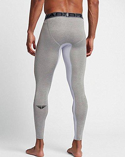 Asciugatura Elastica Pallacanestro Rapida Grigio Leggings Formazione Sport Fitness Pantaloni Uomo Compression erBodCx