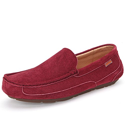 Sunrolan Men's Stylish Slip on Suede Leather Boat Casual Moccasin Loafers Shoes 3419 Wine Red DyfVPdw6g