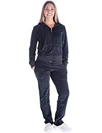 Black Grey Womens Velvet Zip Hooded Sweatshirt Athletic Soft Plus Size Hooded and Sweat Pants Tracksuit Set
