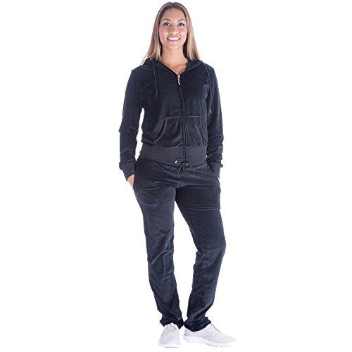 Mavis Garments Womens 2 Piece Outfits Velvet Zip Hooded Sweatshirt and Pants Sweatsuits Set Tracksuits Plus Size Black (Ladies Suits Velour Jogging)