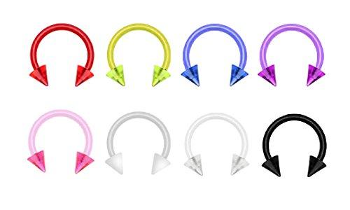 (8 pc lot Spike Red, White, Yellow, purple, blue, pink, clear, black Flexible flex horseshoe lip, belly, nipple, cartilage, tragus, earring hoop - 14g)
