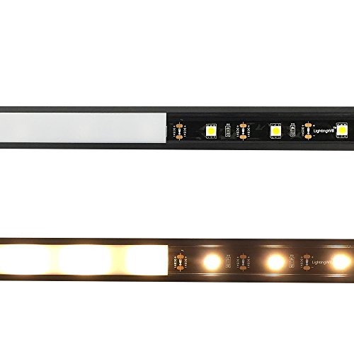 LightingWill 5-Pack 3.3ft/1M 9x23mm Black U-Shape Internal Width 12mm LED Aluminum Channel System with Cover, End Caps and Mounting Clips Aluminum Extrusion for LED Strip Light Installations-U01B5 by LightingWill (Image #4)'