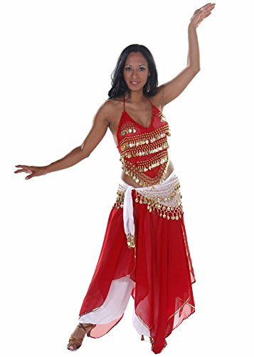 Belly Dance Top, Skirt, Pants & Hip Scarf Halloween Costume Set | Raqs Tonight - Red/Gold - (Arabian Nights Dance Costume)