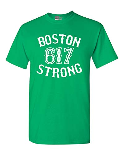 Boston Strong 617 State Adult T-Shirt Tee (Medium, Irish Green)