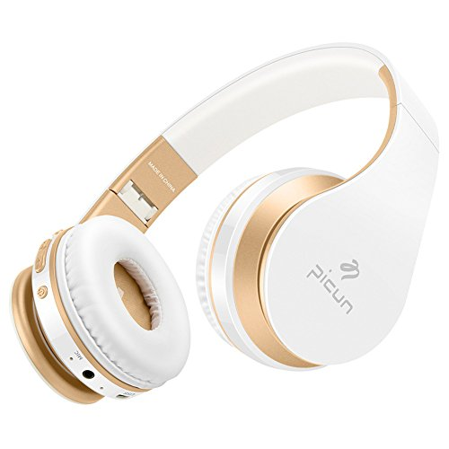 On-Ear Headphones Wireless Stereo Bluetooth Headset P16 with Built-in Mic Fodable Earphones for iPhone Android Smartphone Laptop Notebook (Gold)