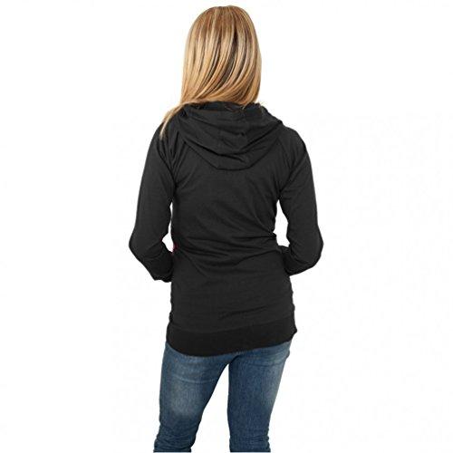 Urban Classics Sudadera de 3 colores con capucha y cremallera para chicas Chaqueta con capucha Mujer negro/rasta Negro / Azul