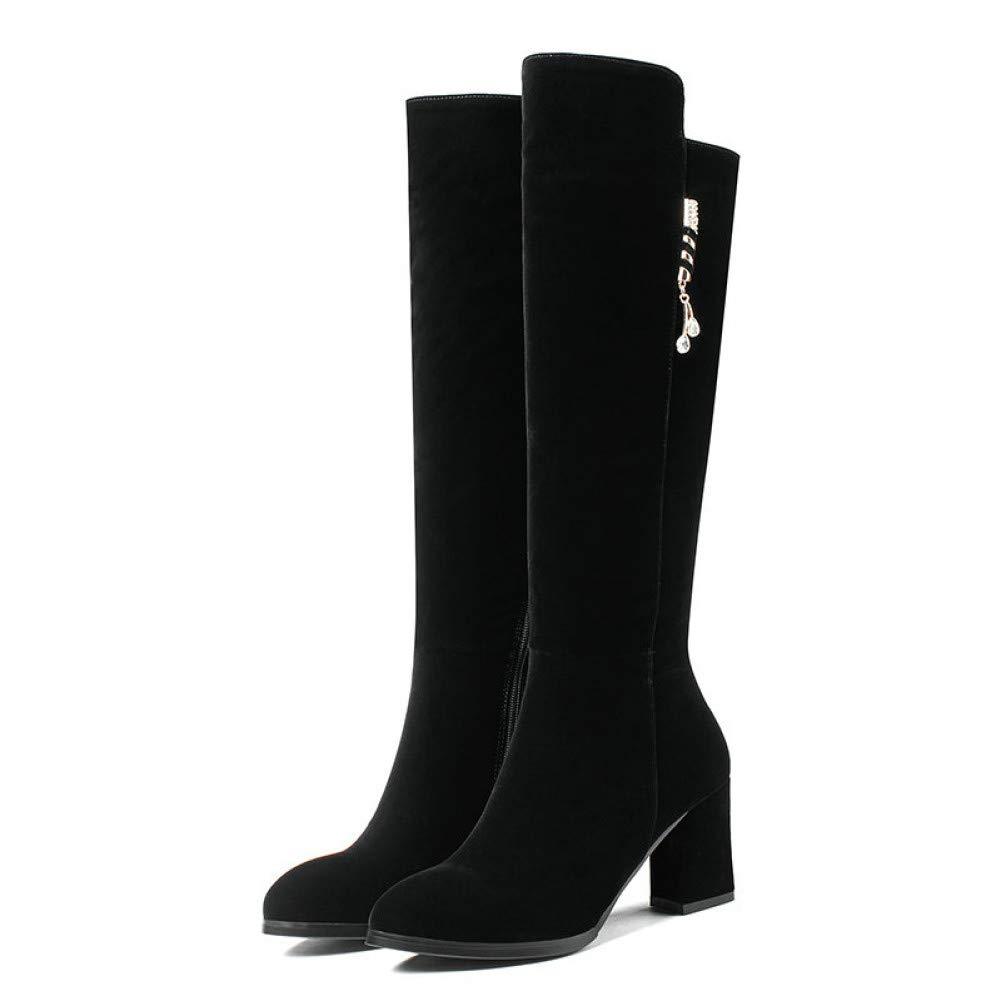 Ai Ya-xuezi Frauen Stiefel Crystal Kurzen Plüsch Damen Schuhe Schuhe Square High Heel Elegante Schwarze Kniehohe Stiefel Größe 34-40