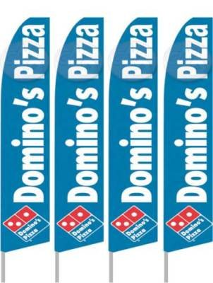 Pack Dominoes (Pack of Four (4) Dominos Pizza Feather Banner Flags (Complete Kits))