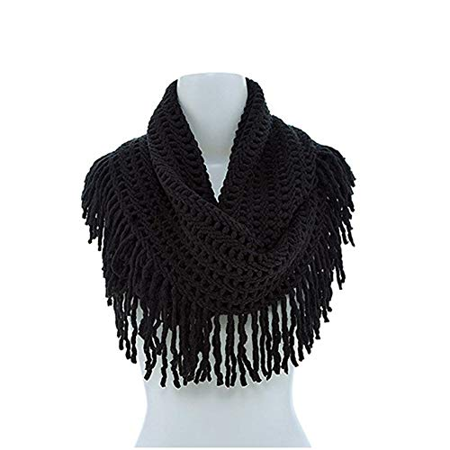 Knitted Neck Scarves - RARITY-US Women Tassels Scarf Winter Warm Crochet Knitted Infinity Loop Warm Crochet Knitted Neck Scarves